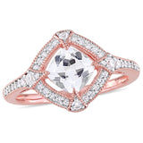 1-2/5 CT TGW Created White Sapphire and 1/6 CT TW Diamond Halo Ring in Rose Plated Sterling Silver