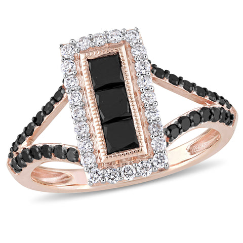 1 CT Black and White Round and Princess Diamonds TW Fashion Ring 10k Pink Gold GH I2;I3 Black Rhodium Plated