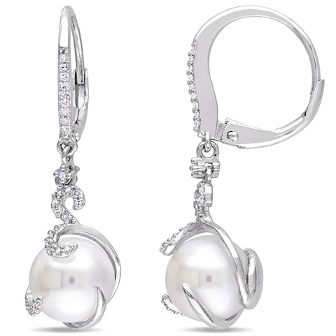 1/5 CT Diamond TW 9 - 9.5 MM White Freshwater Cultured Pearl LeverBack Earrings Silver GH I2;I3