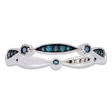 1/4 CT TW Blue Diamond Eternity Band in 10k White Gold with Black Rhodium Plating