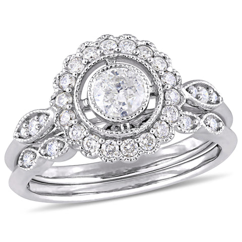 3/4 CT TW Diamond Bridal Set Ring in 10k White