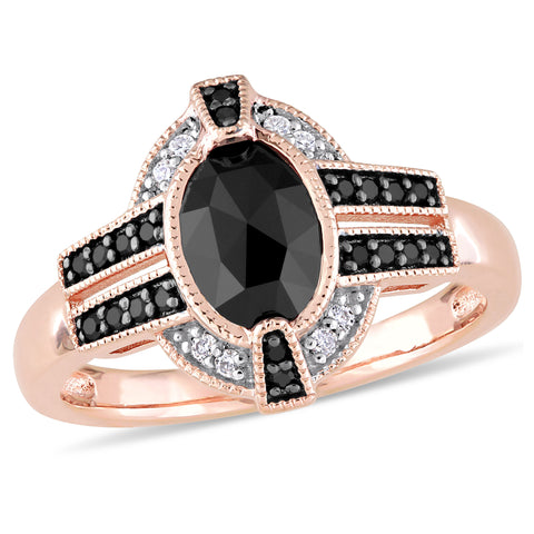 1-1/0 CT TW Black and White Diamond Ring in 10k Rose Gold with Black Rhodium Plated