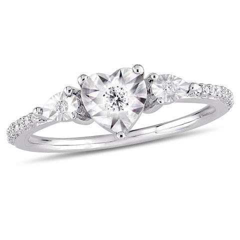 1/7 CT TW Diamond Heart Ring in Sterling Silver