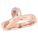 1/10 CT TW Diamond Twist Ring in 10k Rose Gold