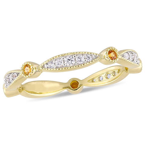 3/8 CT TGW Created Yellow and Created White Sapphire Anniversary Band in Yellow Plated Sterling Silver