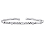 1/10 CT TW Diamond Bangle Bracelet in 14k White Gold