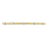 1/10 CT TW Diamond Bangle Bracelet in Two-Tone 14k White and Yellow Gold