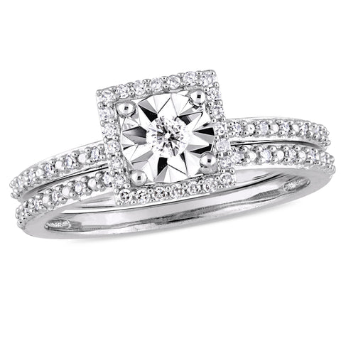 1/4 CT TW Diamond Square Halo Bridal Ring Set in 10k White Gold