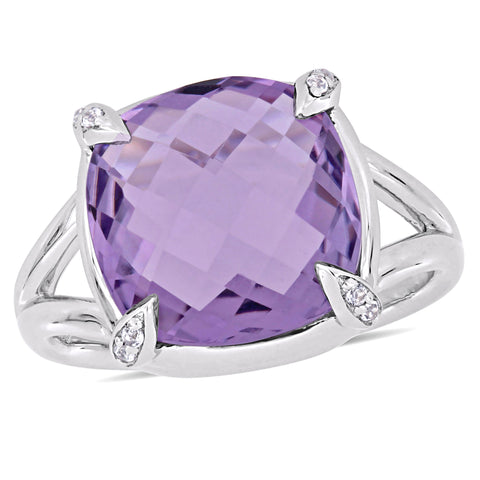 7 4/5 CT TGW Amethyst White Topaz Fashion Ring Silver
