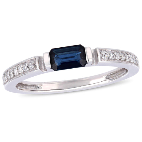 1/3 CT TGW Sapphire and 1/10 CT TW Diamond  Ring in 10k White Gold