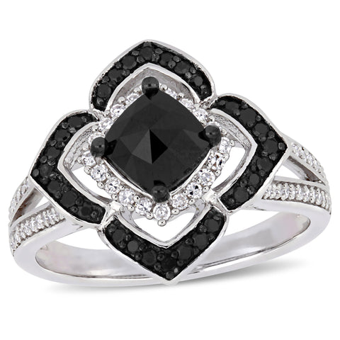 1 2/5 CT TW Black and White Diamond Halo Ring in Sterling Silver with Black Rhodium Plated
