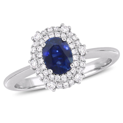 7/8 CT TGW Sapphire and 1/4 CT TW Diamond Double Halo Ring in 14k White Gold
