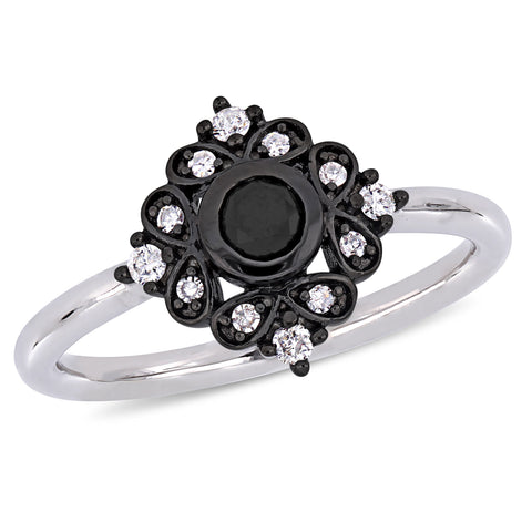 1/3 CT TW Black and White Diamond Bohemian Ring 10k White Gold