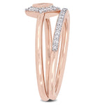 1/3 CT TW Princess and Round-Cut Diamond Petite Classic Bridal Set in 10k Rose Gold