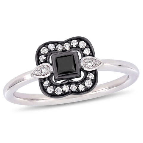1/4 CT TW Black and White Princess and Round-Cut Diamond Bohemian Ring in 10k White Gold