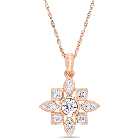 1/3 CT TW Diamond Artisanal Pendant with Chain in 10k Rose Gold
