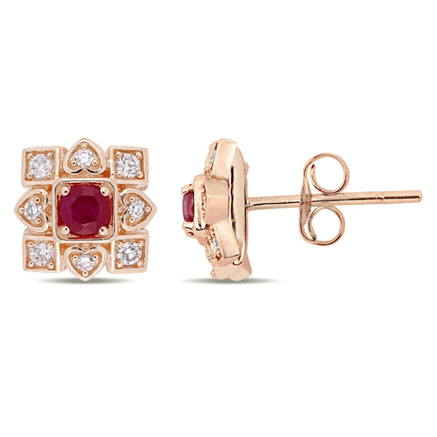 1/3 CT TGW Ruby and 1/5 CT TW Diamond Artisanal Earrings in 10k Rose Gold