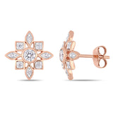 1/3 CT TW Diamond Artisanal Stud Earrings in 10k Rose Gold