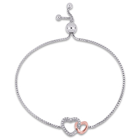 1/10 CT TW Diamond Stationed Double Heart Adjustable Bolo Bracelet in 2-Tone White and Rose Plated Sterling Silver