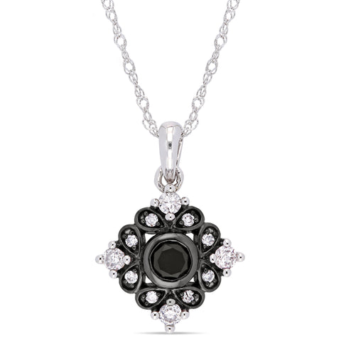 2/5 CT TW Black and White Diamond Bohemian Pendant With Chain in 10k White Gold