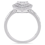 3/8 CT TW Diamond Halo Heart Engagement Ring in Sterling Silver