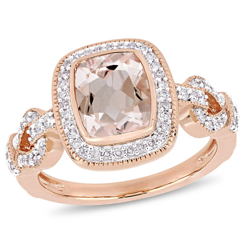Morganite and 1/3 CT TW Diamond Infinity Halo Loop Ring in 10k Rose Gold
