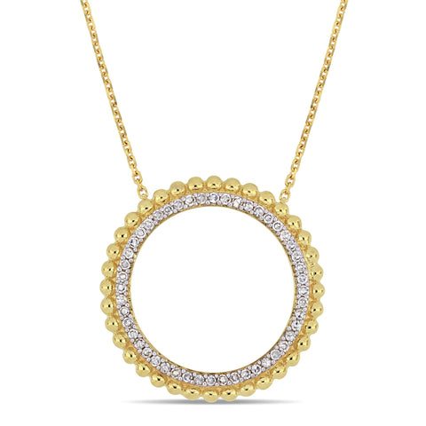 1/4 CT TW Diamond Circle Halo Necklace in 14k Yellow Gold