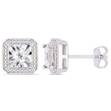 0.04 CT Diamond TW Ear Pin Earrings Silver I3