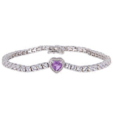 8 CT TGW Amethyst and Created White Sapphire Stationed Halo Heart Tennis Bracelet in Sterling Silver