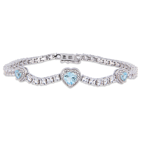 8-1/3 CT TGW Sky-Blue Topaz and Created White Sapphire Stationed Triple Halo Heart Tennis Bracelet in Sterling Silver