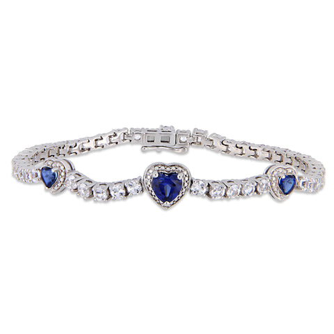 8-1/5 CT TGW Created Blue Sapphire and Created White Sapphire Stationed Triple Halo Heart Tennis Bracelet in Sterling Silver
