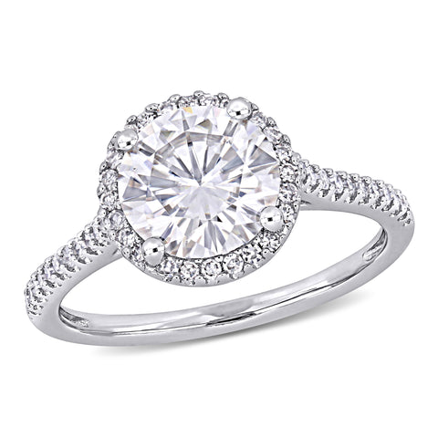 2 CT TGW Round-Cut Moissanite and 1/4 CT TW Diamond Engagement Ring in 14k White Gold