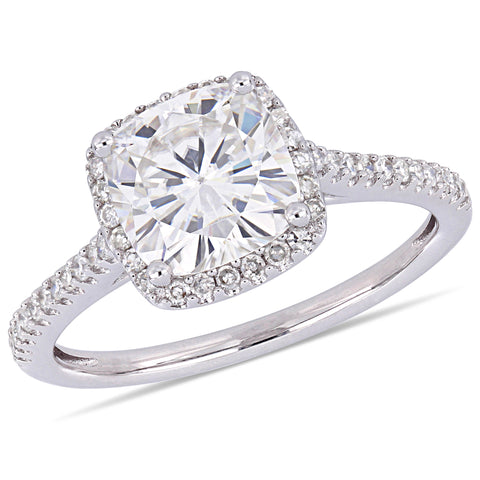 2 CT TGW Cushion-Cut Moissanite and 1/4 CT TW Diamond Double Halo Engagement Ring in 14k White Gold