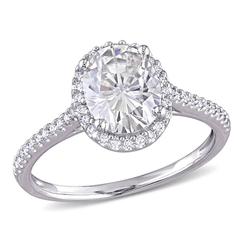 2 CT TGW Oval-Cut Moissanite and 1/4 CT TW Diamond Double Halo Engagement Ring in 14k White Gold