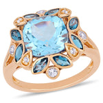 4 4/5 CT TGW London Blue Topaz & Sky Blue Topaz Floral Ring in Rose Gold Plated Sterling Silver