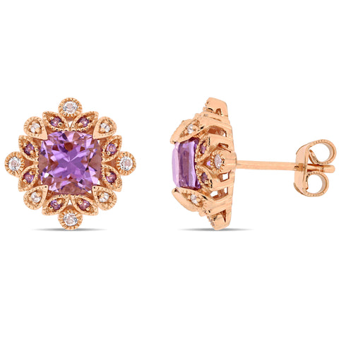 2 CT TGW African Amethyst and White Topaz Vintage Stud Earrings in Rose Gold Plated Sterling Silver