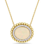 3 1/2 CT TGW Oval-Cut Ethiopian Opal and 1/4 CT TW Diamond Necklace in 14k Yellow Gold