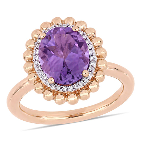 2 1/5 CT TGW Oval-Cut Amethyst and 1/10 CT TW Diamond Double Halo Cocktail Ring in 14k Rose Gold