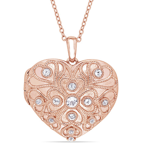 5/8 CT White Topaz Heart Locket Necklace in Rose Plated Sterling Silver