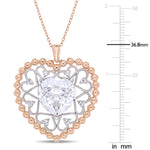 10 3/8 CT TGW Created White Sapphire Open Heart Pendant in 2-tone White & Rose Plated Sterling Silver