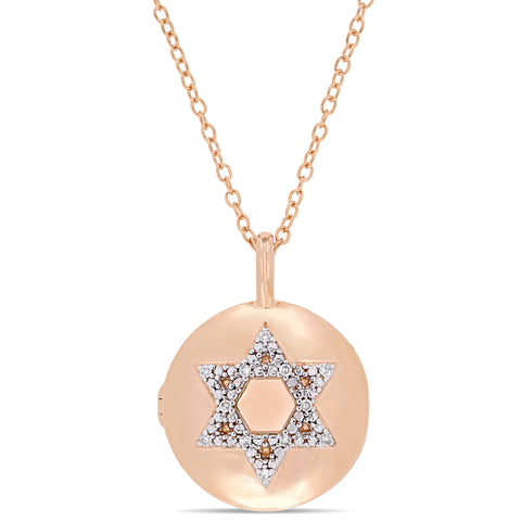 Diamond Accent Studded Star of David Locket Pendant with Chain in Rose Plated Sterling Silver