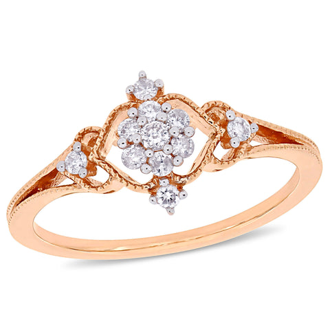 1/6 CT TW Diamond Cluster Ring in 10k Rose Gold