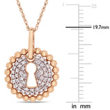 1/5 CT TW Diamond Cluster Keyhole Pendant with Chain in 10k Rose Gold
