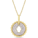 1/5 CT TW Diamond Cluster Hamsa Pendant with Chain in 10k Yellow Gold