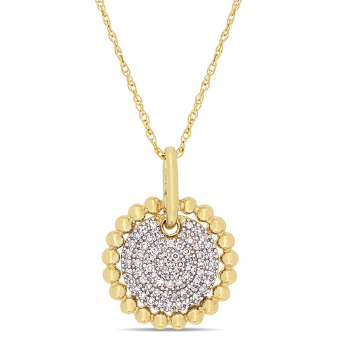 1/5 CT TW Diamond Cluster Pendant with Chain in 10k Yellow Gold