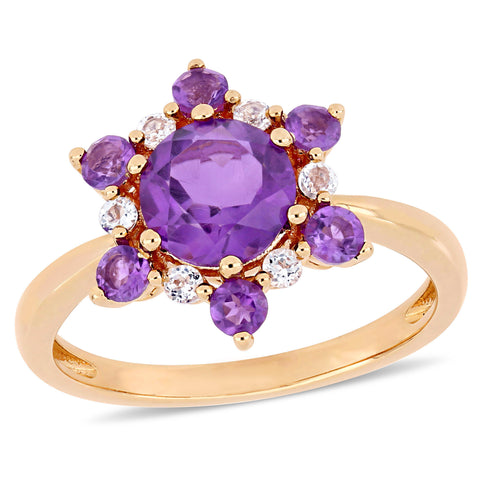 1-4/5 CT TGW African-Amethyst and White Topaz Clustered Star Ring in 10k Rose Gold