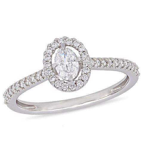 1/2 CT TW Oval-Cut Diamond Floating Halo Engagement Ring in 14k White Gold