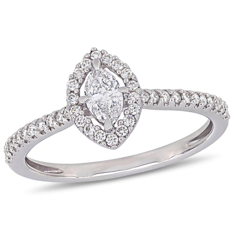 1/2 CT TW Marquise-Cut Diamond Floating Halo Engagement Ring in 14k White Gold