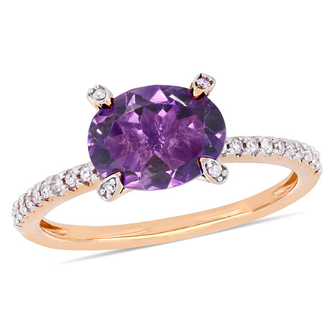 1 5/8 CT TGW Oval-Cut African Amethyst and 1/10 CT TW Diamond Ring in 10k Rose Gold