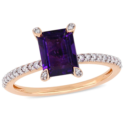 1 1/2 CT TGW African Amethyst and 1/10 CT TW Diamond Ring in 10k Rose Gold